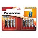 Baterie alkalická, AA, 1.5V, Panasonic, blistr, 8-pack, LR6PPG/8BW, Pro Power, cena za 1 ks baterie