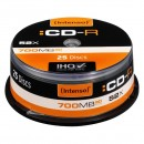 Intenso CD-R, 1001124, 25-pack, 700MB, 52x, 80min., 12cm, bez možnosti potisku, cake box, Standard, pro archivaci dat