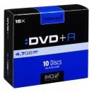 Intenso DVD+R, 4111652, 10-pack, 4.7GB, 16x, 12cm, Standard, slim case, bez možnosti potisku
