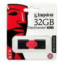 Kingston USB flash disk, 3.1, 32GB, Data Traveler 106, černo-červený, červená, DT106/32GB, vysouvací konektor