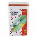 Čisticí trhací ubrousky, na CD a DVD, dóza, 100 ks, LOGO