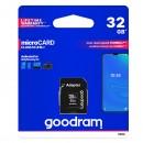 Goodram Micro Secure Digital Card, 32GB, micro SDHC, M1AA-0320R12, UHS-I U1 (Class 10), s adaptérem