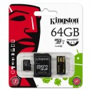 Kingston Micro Secure Digital Card Gen2 - Mobility Kit, 64GB, micro SDXC, MBLY10G2/64GB, UHS-I U1 (Class 10), se čtečkou a adaptér