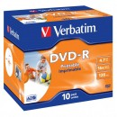 Verbatim DVD-R, 43521, DataLife PLUS, 10-pack, 4.7GB, 16x, 12cm, General, Advanced Azo+, jewel box, Wide Printable, pro archivaci
