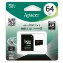 Apacer paměťová karta Secure Digital, 64GB, micro SDXC, AP64GMCSX10U1-R, UHS-I U1 (Class 10), s adaptérem