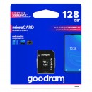 Goodram Micro Secure Digital Card, 128GB, micro SDXC, M1AA-1280R12, UHS-I U1 (Class 10), s adaptérem