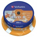 Verbatim DVD-R, 43538, DataLife PLUS, 25-pack, 4.7GB, 16x, 12cm, General, Advanced Azo+, cake box, Wide Printable, pro archivaci d