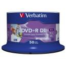 Verbatim DVD+R, 43703, Double Layer, 50-pack, 8.5GB, 8X, 12cm, General, Wide Inkjet Printable, cake box, Printable, pro archivaci