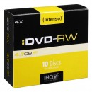 Intenso DVD-RW, 4201632, 10-pack, 4.7GB, 4x, 12cm, Standard, slim case, Rewriteable