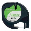 Dymo originální páska do tiskárny štítků, Dymo, 59421, S0721500, černý tisk/bílý podklad, 4m, 12mm, LetraTag papírová páska