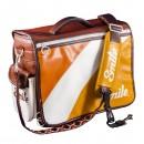 Taška na fotoaparát, eko kůže/nylon, oranžová, 70´s Style L, s popruhem, 2v1 oboustranná, Smile