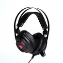 RED FIGHTER, herní sluchátka H3 s mikrofonem, ovládání hlasitosti, červeno-černá, podsvícená, 3.5 mm jack + USB