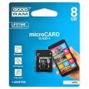 Goodram Micro Secure Digital Card + Adapter, 8GB, micro SDHC, M40A-0080R11, Class 4 pro archivaci dat