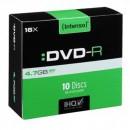 Intenso DVD-R, 4101652, 10-pack, 4.7GB, 16x, 12cm, Standard, slim case, bez možnosti potisku