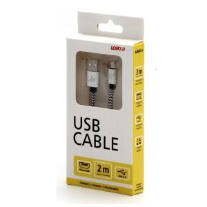 Kabel USB (2.0), USB A M- USB micro B M, 2m, 480 Mb/s, 5V/1A, stříbrný, Logo, box, nylonové opletení, hliníkový kryt konektoru