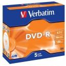 Verbatim DVD-R, 43519, DataLife PLUS, 5-pack, 4.7GB, 16x, 12cm, General, Advanced Azo+, jewel box, Scratch Resistant, bez možnosti