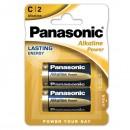 Baterie alkalická, C, LR14, 1.5V, Panasonic, blistr, 2-pack, cena za 1 ks baterie