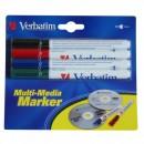 VERBATIM popisovač CD-R, černý, modrý, zelený, červený, 44120, 4 ks