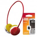 Enzatec, FP111, bezdrátová sluchátka, ovládání hlasitosti, červená, + Goodram MicroSD Card 4GB