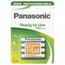 Přednabité baterie, AAA, 1.2V, 750 mAh, Panasonic, blistr, 4-pack, Ready to use, cena za 1 ks