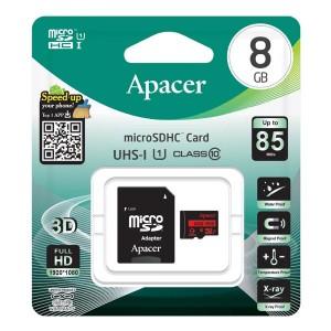 Apacer paměťová karta Secure Digital, 8GB, micro SDHC, AP8GMCSH10U5-R, UHS-I U1 (Class 10), s adaptérem