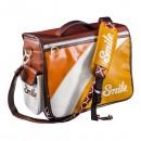 Taška na fotoaparát, eko kůže/nylon, oranžová, 70´s Style M, s popruhem, 2v1 oboustranná, Smile