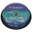 Verbatim DVD-RW, 43552, DataLife PLUS, 10-pack, 4.7GB, 4x, 12cm, General, Serl, cake box, Scratch Resistant, bez možnosti potisku