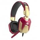 E-Blue IRON MAN EHS908, herní sluchátka s mikrofonem, ovládání hlasitosti, červená, 2x 3.5 mm jack + USB