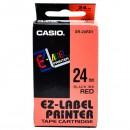 Casio originální páska do tiskárny štítků, Casio, XR-24RD1, černý tisk/červený podklad, nelaminovaná, 8m, 24mm