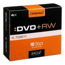 Intenso DVD+RW, 4211632, 10-pack, 4.7GB, 4x, 12cm, Standard, slim case, Rewriteable