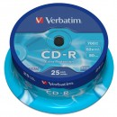 Verbatim CD-R, 43432, DataLife, 25-pack, 700MB, Extra Protection, 52x, 80min., 12cm, bez možnosti potisku, cake box, Standard, pro