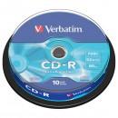 Verbatim 43437, DataLife, 10-pack, 700 Extra Protection, 52x, 80min., CD-R, 12cm, bez možnosti potisku, cake box, Standard, pro ar