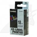 Casio originální páska do tiskárny štítků, Casio, XR-18X1, černý tisk/průhledný podklad, nelaminovaná, 8m, 18mm