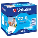 Verbatim 43325, DataLife PLUS, 10-pack, 700 Super Azo, 52x, 80min., CD-R, 12cm, Wide Printable, jewel box, Standard, pro archivaci
