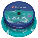 Verbatim DVD-RW, 43639, DataLife PLUS, 25-pack, 4.7GB, 4x, 12cm, General, Serl, cake box, Scratch Resistant, bez možnosti potisku