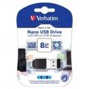 Verbatim USB flash disk, 2.0, 8GB, Nano Store ,N, Stay, s adaptérem Micro USB, černý, 49820