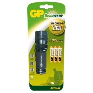 LED svítilna, 3xAAA, kovová, černá, GP LOE203 + 3 x AAA baterie GP Ultra