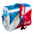 Taška na fotoaparát, eko kůže/nylon, barevná, Mod Style M, s popruhem, 2v1 oboustranná, Smile