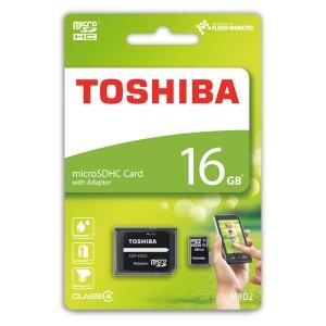 Toshiba paměťová karta M102, 16GB, micro SDHC, SDU16GSDHC4M102M4TR, Class 4, s adaptérem