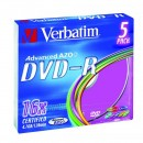 Verbatim DVD-R, 43557, DataLife PLUS, 5-pack, 4.7GB, 16x, 12cm, General, Advanced Azo+, slim box, Colour, bez možnosti potisku