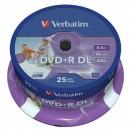 Verbatim DVD+R, 43667, DataLife PLUS, 25-pack, 8.5GB, 8x, 12cm, General, Double Layer, cake box, Wide Printable, pro archivaci dat