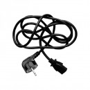 Síťový kabel 230V napájecí, CEE7 (vidlice)-C13, 2m, VDE approved, černý, Logo