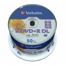 Verbatim DVD+R, 97693, DataLife PLUS, 50-pack, 8.5GB, 8x, 12cm, General, Double Layer, cake box, Wide Printable Surface Inverse St