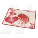 Podložka pod myš, Heart & Soul, gumový povrch, červená, 17,7x27,7cm, G-Cube