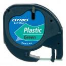Dymo originální páska do tiskárny štítků, Dymo, 59425, S0721590, černý tisk/zelený podklad, 4m, 12mm, LetraTag plastová páska