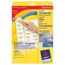 Avery Zweckform etikety 63.5mm x 38.1mm, A4, průhledné, transparentní, 21 etiket, baleno po 25 ks, J8560-25, pro inkoustové tiskár