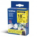 Brother originální páska do tiskárny štítků, Brother, TX-641, černý tisk/žlutý podklad, laminovaná, 8m, 18mm