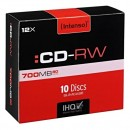 Intenso CD-RW, 2801622, DataLife PLUS, 10-pack, 700MB, 12x, 80min., 12cm, Scratch Resistant, bez možnosti potisku, slim case, rewr