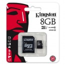 Kingston Micro Secure Digital card, 8GB, micro SDHC, SDC10G2/8GB, UHS-I, s adaptérem