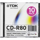 TDK t19865, 10-pack, 700 Printable, 52x, 80min., CD-R, 12cm, Extra fine matt, Printable, slim box, Standard, pro archivaci dat